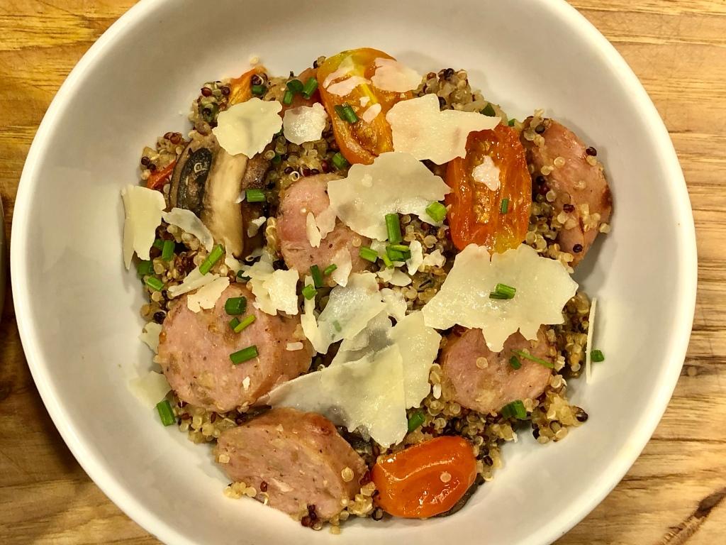Chicken Sausage Quinoa Risotto in a bowl